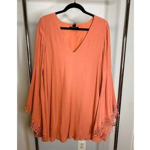 Coral Mini Dress with Floral Lace Sleeves